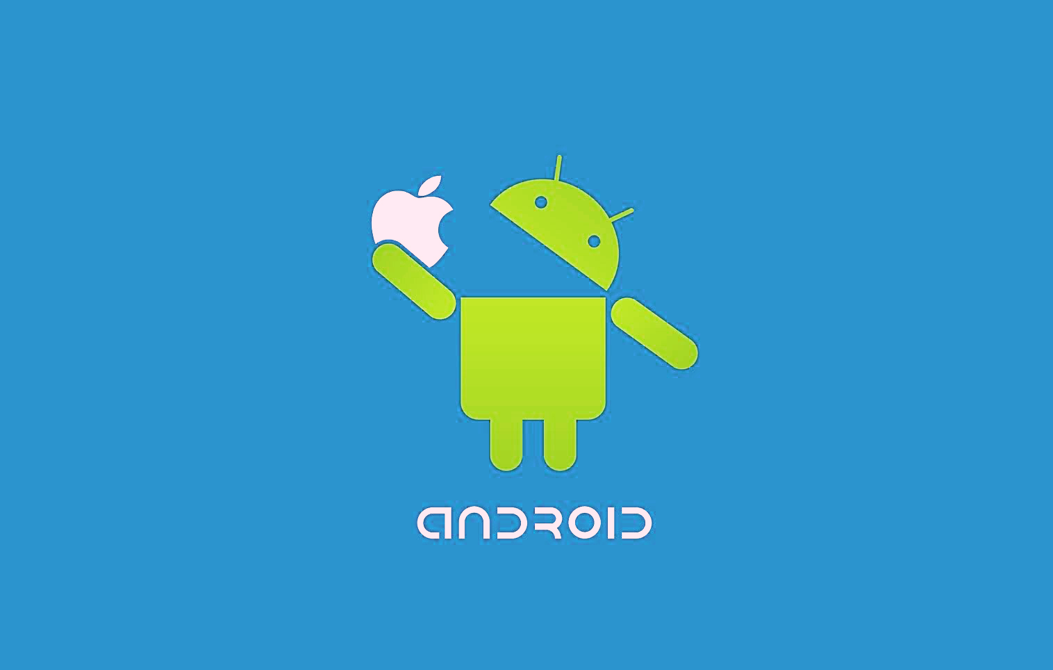 Android-Robot-Eat-Apple-Wallpaper-HD