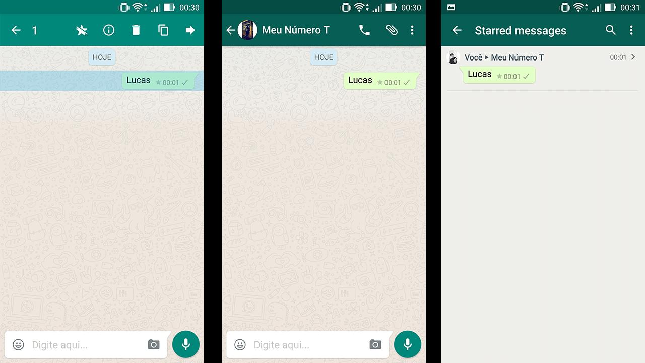 Mensagem como Favofira Whatsapp